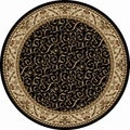 Amalfi Black Scroll Oriental Area Rug (5'3 Round)