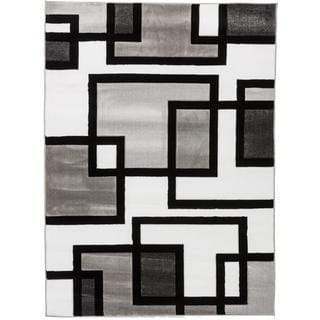 Blocks in Blocks Black, White, and Grey Abstract Geometric Modern Hand-carved Boxes Lines Area Rug (7'10 x 9'10)