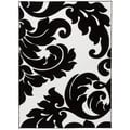 Damask Vines Black/ White Area Rug (7'10 x 9'10)