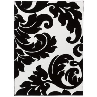 Damask Vines Black/ White Area Rug (5'3 x 7'3)
