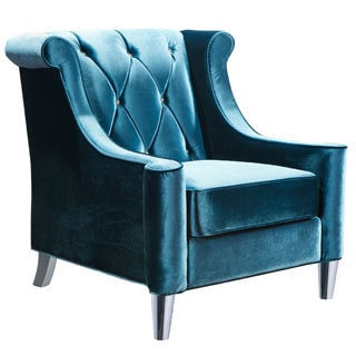 Barrister Blue Velvet Button-tufted Accent Chair