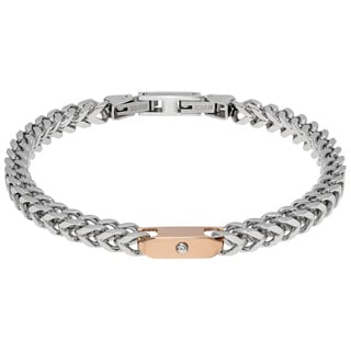 Stainless Steel Wheat Cubic Zurconia and Roseplated Chain Bracelet