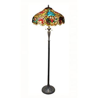 2-light Dark Antique Bronze Tiffany-style Victorian Floor Lamp