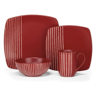 Cuisinart 'Anet' 16-piece Red Stoneware Dinnerware Set