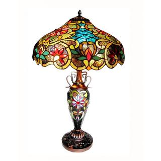 3-light Dark Antique Bronze Tiffany-style Victorian Double-lit Table Lamp