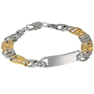 Stainless Steel ID Gold Ionic Plated Link Bracelet