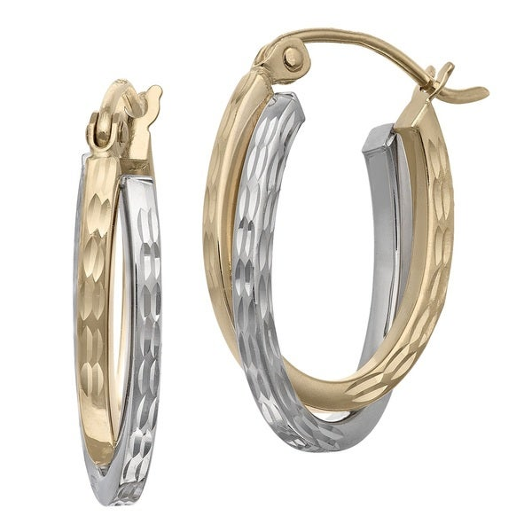 Gioelli 14k Two-tone Gold Diamond-cut Oval Hoop Earrings