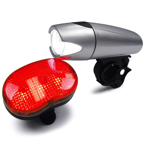BV Bicycle Silver Light Set, Super Bright 5 LED Headlight and 3 LED Rear Taillight