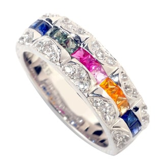 Sterling Silver Multi Color Corundum and White Topaz Band Ring
