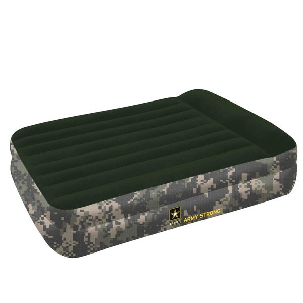 US Army Inflatable Raised Queen Air Bed with AC Pump