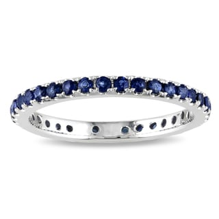 Miadora 14k White Gold 3/4ct TGW Sapphire Eternity Ring