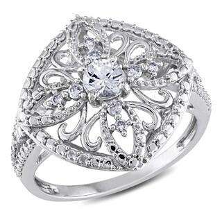 Miadora 10k White Gold White Sapphire and 1/10ct TDW Diamond Ring (G-H, I2-I3)