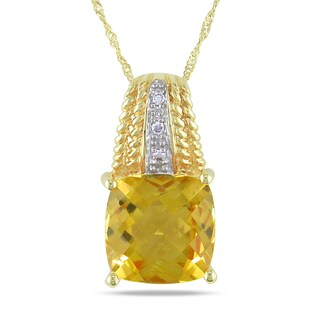 Miadora 14k Yellow Gold 4ct TGW Citrine and Diamond Necklace