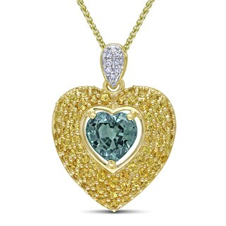 Miadora 14k Yellow Gold Sapphire and Diamond Heart Necklace (G-H, SI1-SI2)