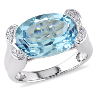 Miadora 14k White Gold 7 1/2ct TGW Blue Topaz and Diamond Cocktail Ring
