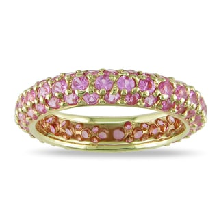 Miadora Signature Collection 18k Yellow Gold 2 1/2ct TGW Pink Sapphire Ring