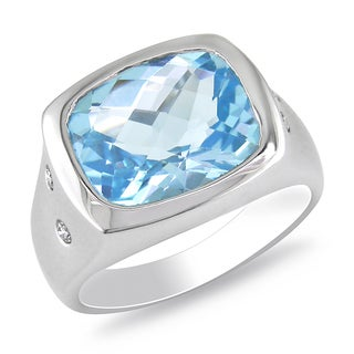 Miadora 14k White Gold Blue Topaz and 1/10ct TDW Diamond Ring (G-H, I1-I2)