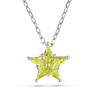 Miadora Signature Collection 14k White Gold Yellow Sapphire Star Necklace