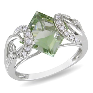 Miadora 10k White Gold Green Amethyst and 1/6ct TDW Diamond Ring (H-I, I2-I3)