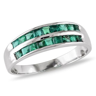 Miadora 14k White Gold 3/4ct TGW Emerald Ring