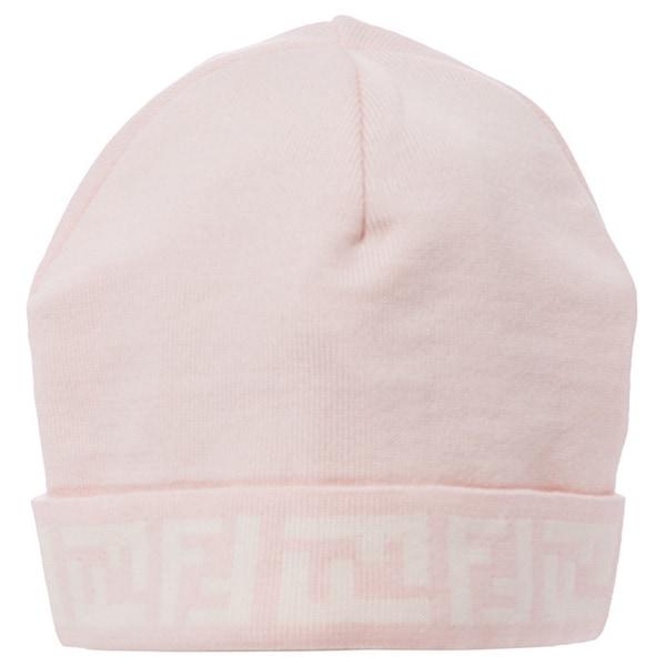 Fendi Pink/ Cream Wool Zucca Skull Cap