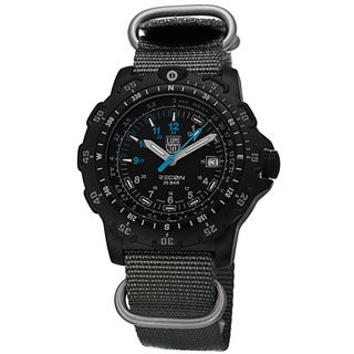 Luminox Men's A.8823.KM 'Recon Sea' Black Dial Grey Nylon Watch