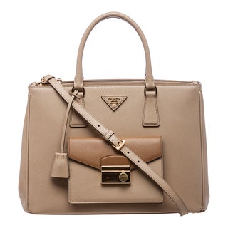 Prada 'Galleria' Sand and Caramel Leather Tote