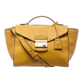 Prada 'Daino' Yellow Leather Twin Pocket Satchel