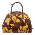 Prada Burgundy and Yellow Hibiscus Print Bowler Bag