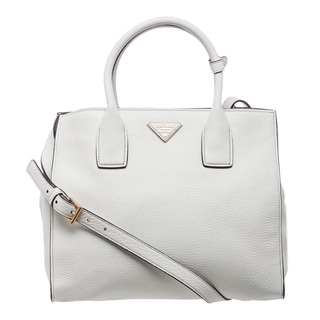Prada Small White Grained Calf Leather Tote