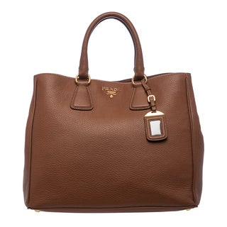 Prada Brandy Pebbled Leather Tote