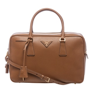 Prada 'Lux' Caramel Saffiano Leather Structured Satchel