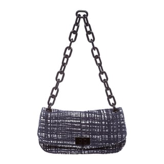 Prada Blue and White Tweed Shoulder Bag