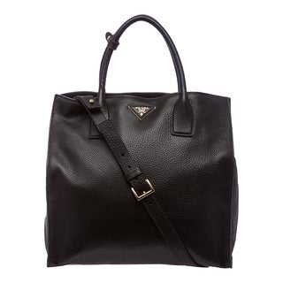 Prada Black Grained Calf Leather Tote