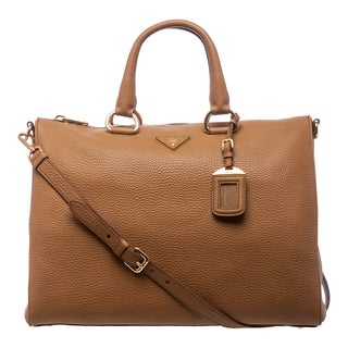 Prada 'Daino' Caramel Vitello Leather East/West Satchel