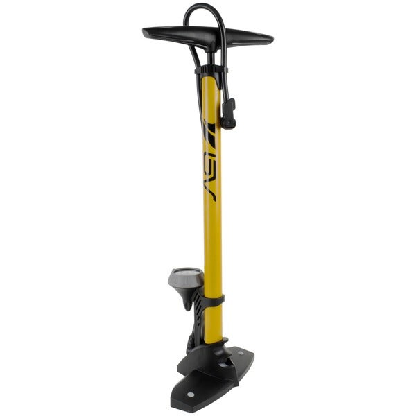 BV Reversible Presta and Schrader Air Valve, 160 psi Bike Steel Yellow Tire Floor Pump