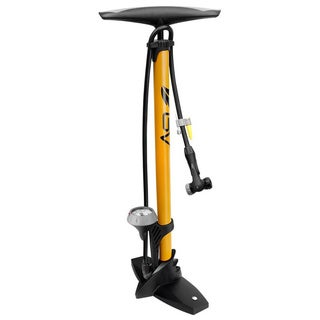 BV Reversible Presta and Schrader Air Valve, 160 psi Bike Steel Yellow Tire Floor Pump