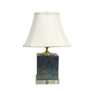 Blue Pagoda Porcelain Box Crystal Base Lamp