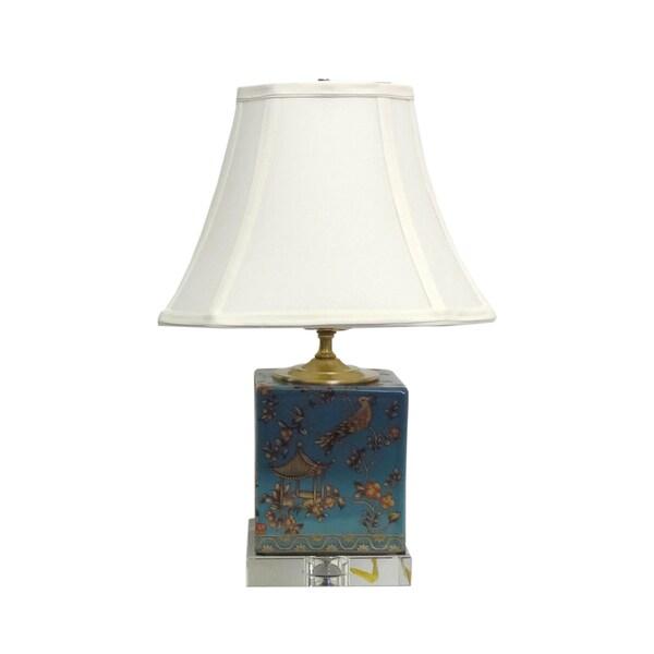 Blue Pagoda Porcelain Box Crystal Base Lamp