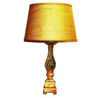 Distressed Tan Openwork Column Table Lamp