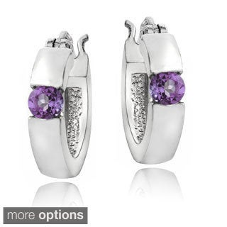 Glitzy Rocks Sterling Silver Gemstone Hoop Earrings