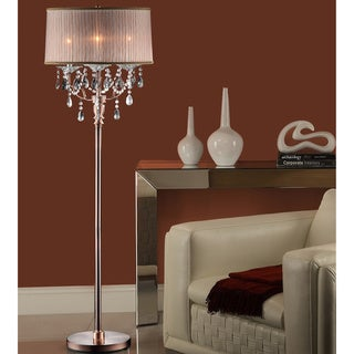 TRIBECCA HOME Blais 3-light Copper Crystal Sheer Shade Floor Lamp