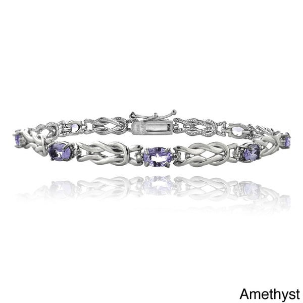 Glitzy Rocks Sterling Silver 3 1/2ct TGW Gemstone and Diamond Accent Oval Love Knot Bracelet 12599533