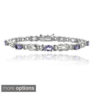 Glitzy Rocks Sterling Silver 3 1/2ct TGW Gemstone and Diamond Accent Oval Love Knot Bracelet