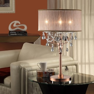 TRIBECCA HOME Blais 3-light Copper Crystal Sheer Shade Table Lamp