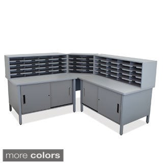 Cabinets and Sorters 50-slot Corner Mailroom Organizer