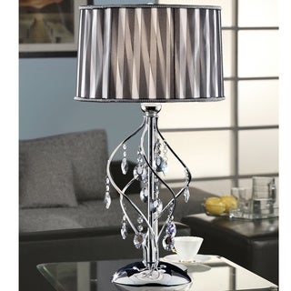 Acel 1-light Chrome Crystal Black Sheer Shade Table Lamp