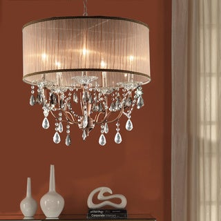 Blais 5-light Copper Sheer Shade Crystal Pendant Chandelier