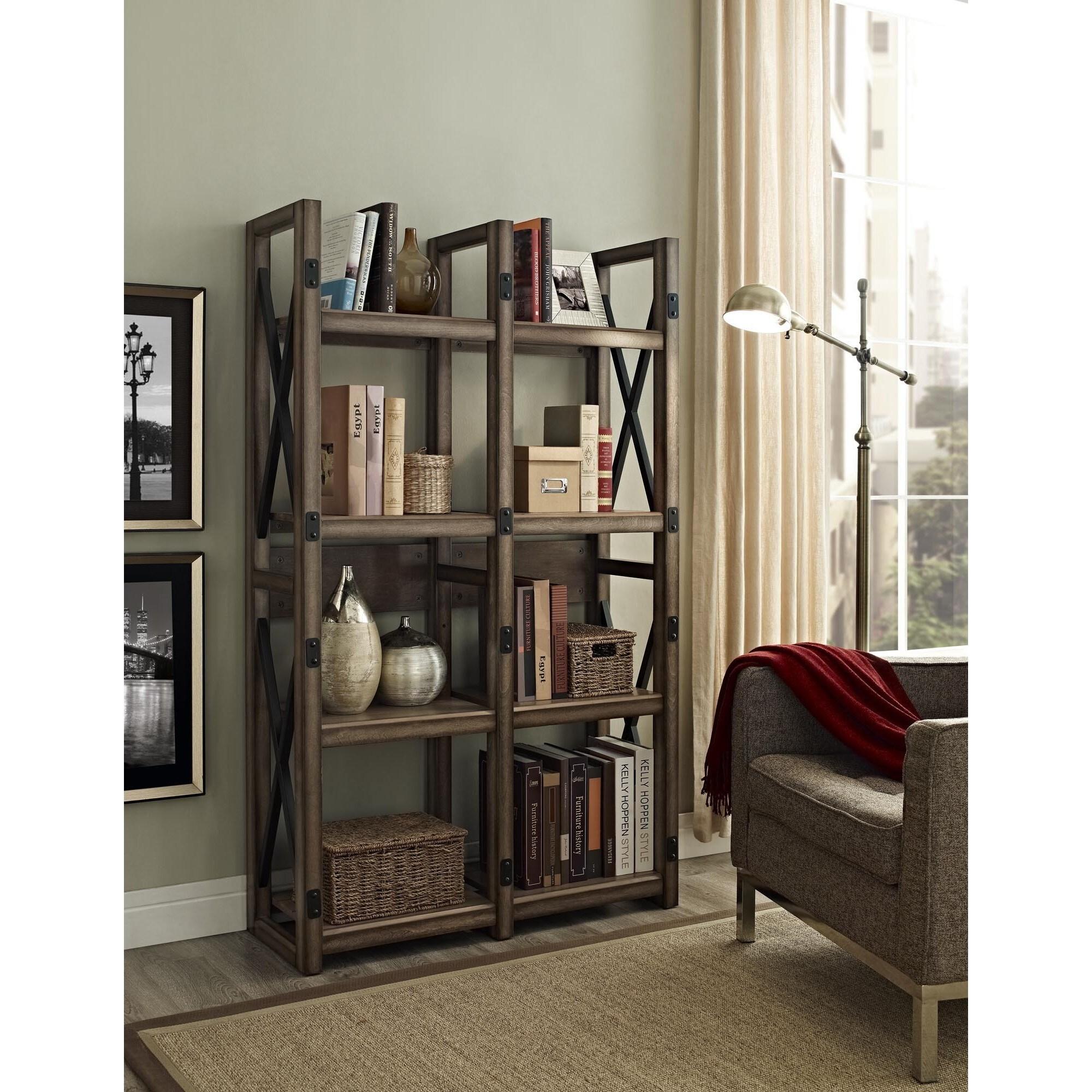 Altra wildwood rustic metal frame bookcase room divider - Open bookcase room divider ...