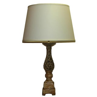 Distressed Tan Openwork Table Lamp with Linen Shade